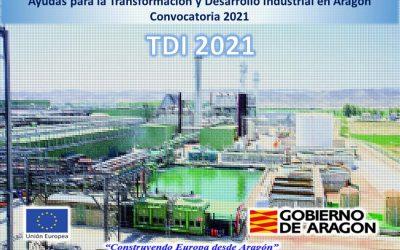 Convocatoria de ayudas para la Transformación y Desarrollo Industrial en Aragón. TDI 2021 (PAIP)